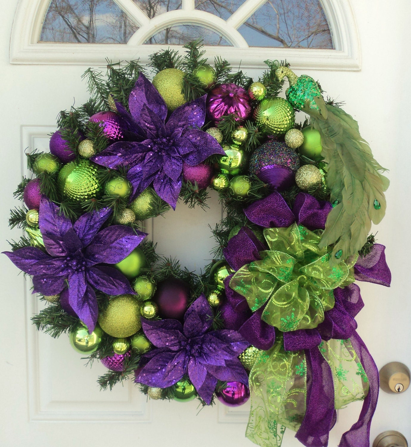Peacock purple lime green christmas wreath home decor purple - Is purple a christmas color ...