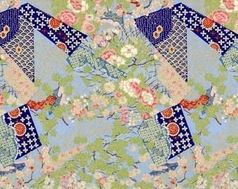 Japanese Yuzen Chiyogami Washi Paper Pink Peony on Blue