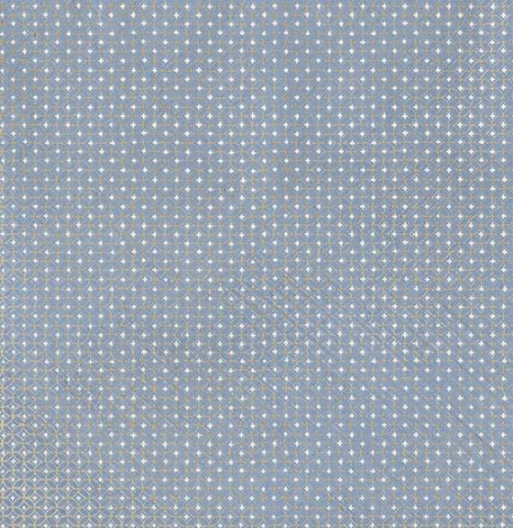 Yuzen Chiyogami Washi Paper Blue with Gold Circles