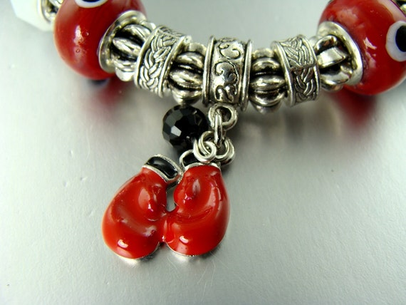 STRETCH Red boxing Gloves European Charm  glass bead Bracelets