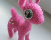 Bright pink needle felted deer