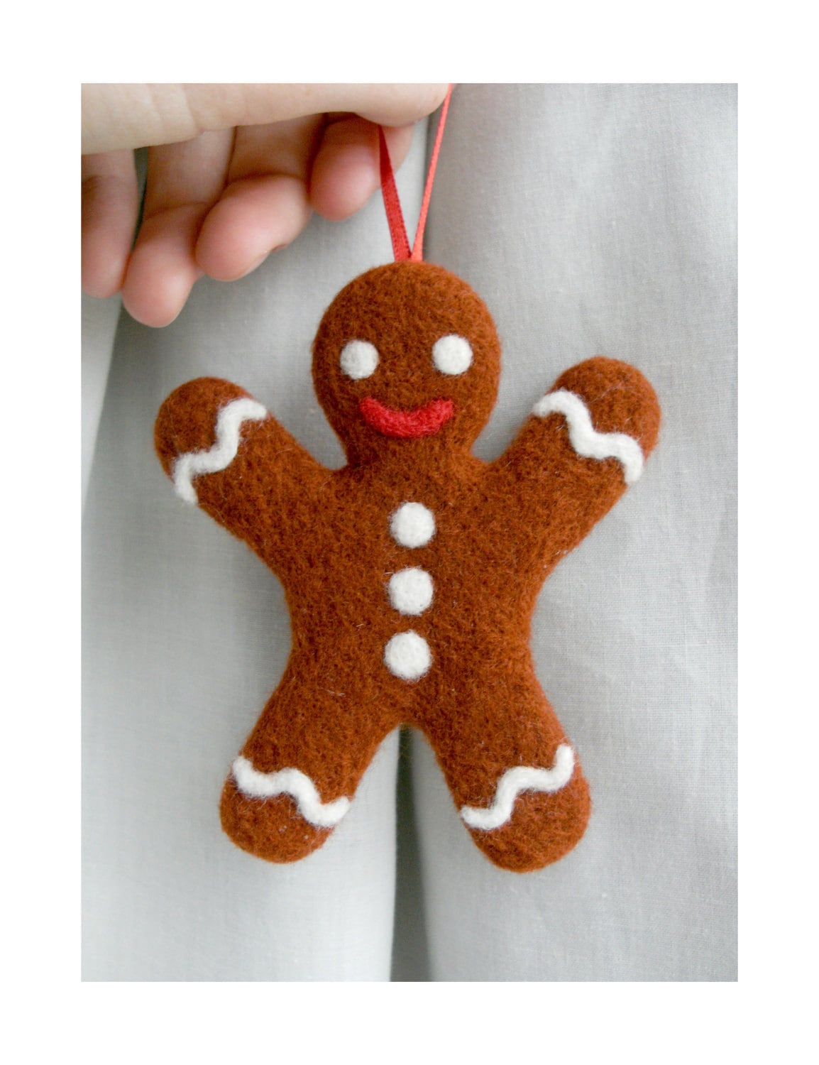 Needle felted gingerbread man christmas decoration - Decorations for gingerbread man ...