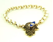 Lucky Evil Eye & Hand Charm Bracelet - White and Gold
