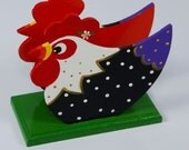 Handpainted Decorative Wooden Rooster Napkin Holder