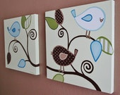 """Baby Bird Nursery Art for Boys, Large set of of two 20x20"""" Original Paintings, Made to Order"""