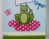 "Art for Kids - Rainy Day at the Pond, 12x12"" Frog with Umbrella on a Lilypad"