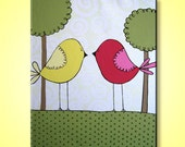 """Kids wall art- Pink and Yellow Birds and Trees, 16x20"""" Original Painting, READY TO SHIP"""