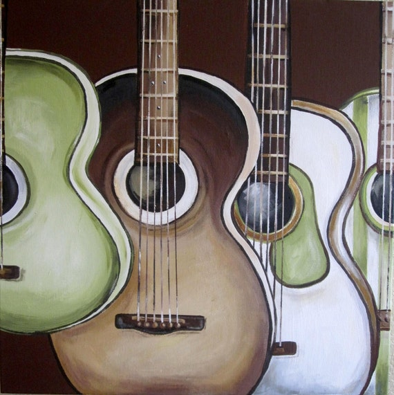 """Green and Brown Guitars, Large 20"""" x 20"""" Painting, Custom Painted Acrylic on Canvas"""