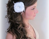 White Feather Rose - Handmade Flower Hair Clip or brooch for Bride or Bridal Party