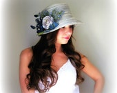 Retro 1920's Cloche Hat - Navy Blue Stripe with Flowers Kentucky Derby Vintage Style