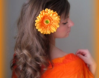 Orange Sorbet -  Big Bright Orange Gerber Daisy Flower Hair Clip