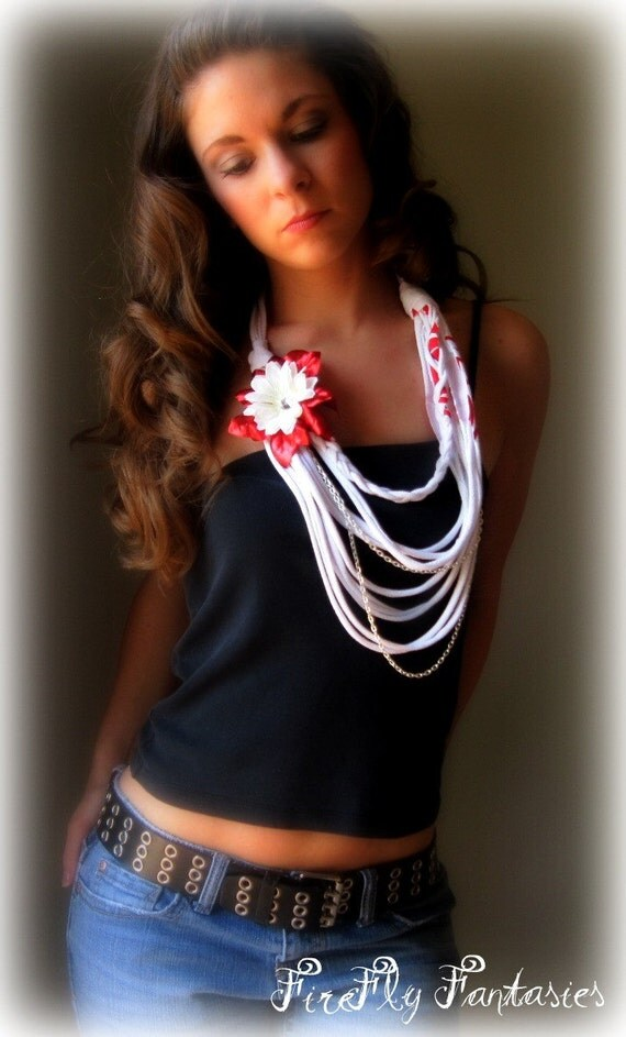 Eco Chic - Upcycled  French Style White T Shirt Necklace with Flower and Rope Chain