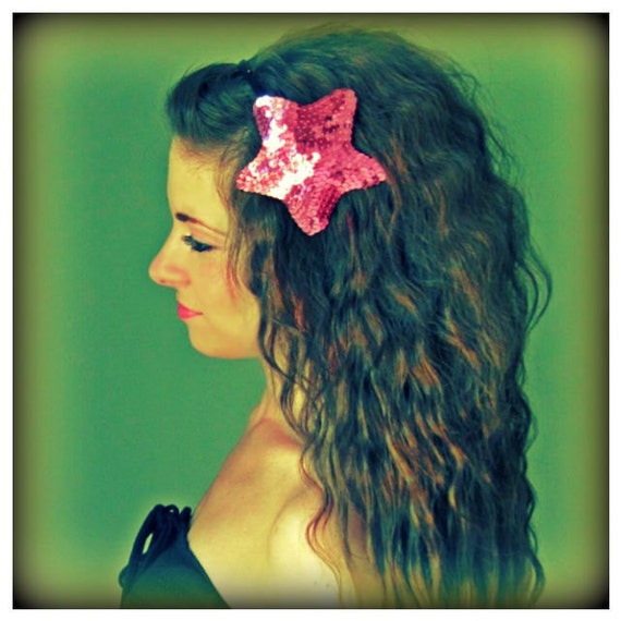 Rock Star - Pink Black Sequin Headband Handmade