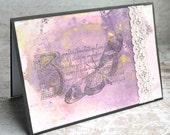 Purple Butterfly Card, Blank, Pink Lace in Distress Ink