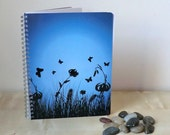 Flower Notebook, Blue, Blank Pages, Spiral Bound, Silhouette, Wildflowers, Different Colors Available, Free UK Postage
