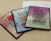 Blank Mini Cards, Dance in the Rain, Red Blue, Green, Pack of 3