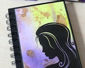 Notebook, Purple, Pink, Yellow, Retro, Lady, Spiral Bound, A6