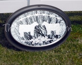 Etched Oval Mirror with Barb Wire & Cattle Design