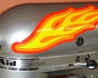 Kitchenaid Appliance Mixer Flames 3 color custom decorative decals or for helmet