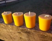 "Beeswax Candles-  Set of four votives, 2"" tall"