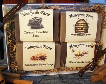 Soap Sampler Gift Package - Cinnamon, Honey, Vanilla, and Chocolate