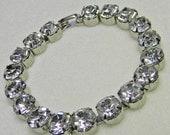 Headlight Rhinestone Bracelet Clear Silver Tone