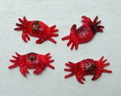 Red Crab Celluloid Plastic Charms Novelty (4) Lot Cracker Jacks Gumball Vintage