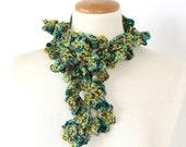 Green Crochet Scarf Ruffle Collar  -- Silk Cotton  -- Handmade Wearable Fiber Art  -- Woodland Colors