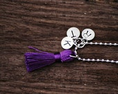 Custom Hand Stamped Initial Letter Necklace with Tassel on Ball Chain