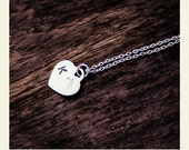 Custom Necklace Hand Stamped Heart Sterling Silver Initial Jewellery K & Tiara Design