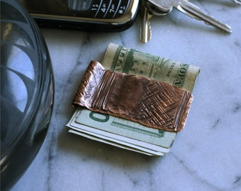Hand Tooled Copper Money Clip