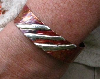 Copper Cuff, Silver Strips Overlay - Silver Spirits
