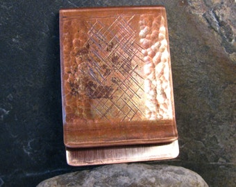 Hand Tooled Wide Copper Money Clip, Hand Wrought Copper, Artisan Design Copper, Flame Oxidized Copper