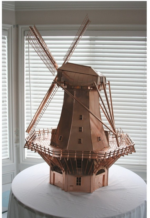 Dutch Windmill in Copper.  A representation of the stage corn mill in 's-Gravenzande, Netherlands rebuilt in 1908.