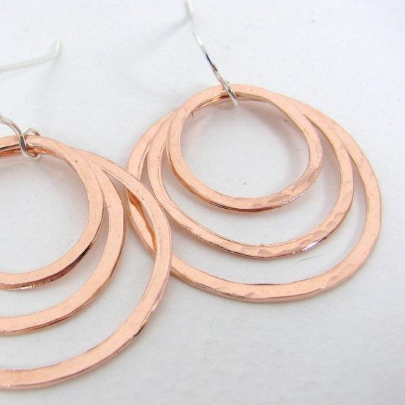 Triple Loop Copper Earrings