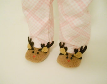 18 inch Doll Clothes fits American Girl Reindeer Slippers