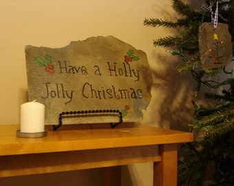 Primitive Holly Jolly Christmas Plaque