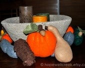 Harvest Pumpkin,Gourds,Acorns and Squash Felt Table Centerpiece,Indian Summer,OOAK