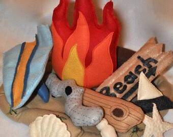 Felt Campfire Toy Beach Camping-Driftwood-Felt Seashells (Made when ordered)