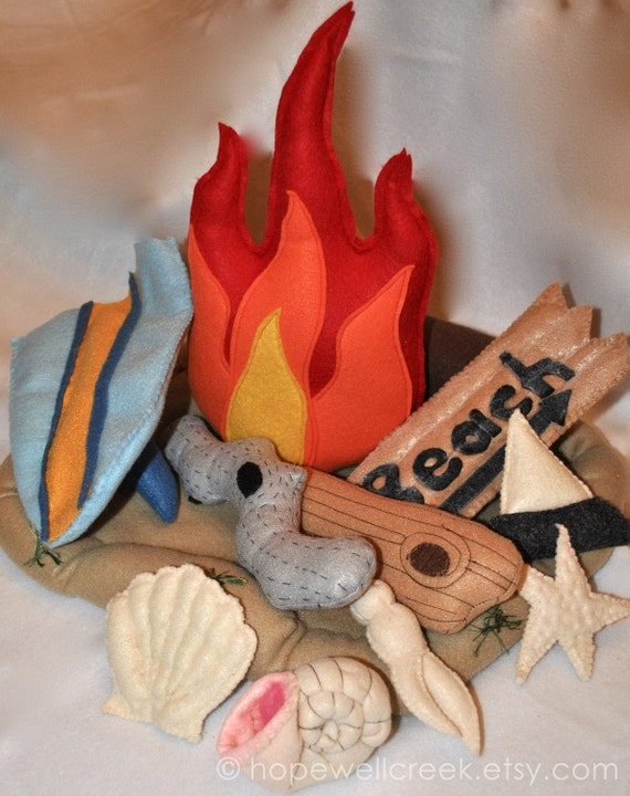 Felt Campfire Toy Beach Camping-Driftwood-Felt Seashells (Made when ordered)