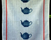 blockprint TEAPOTs tea-towel