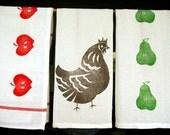 SET of 3 block printed by hand tea-towels
