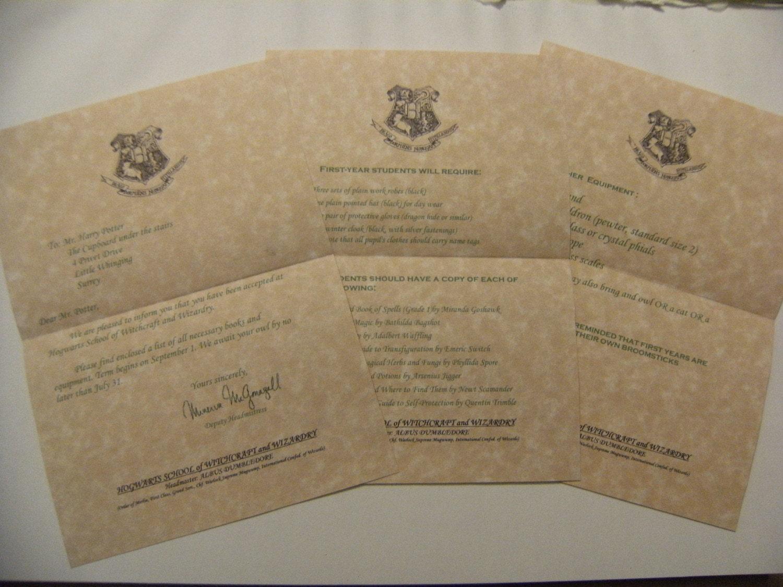 Harry potter hogwarts acceptance letter homemade for Harry potter letter template