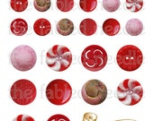 Vintage Red and Pink Buttons Digital Collage Kit
