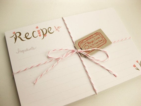 Peachy Pink Tulips Recipe Card Set