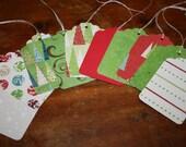 Gift Tag, Christmas, Seasons Greetings, Tree, lines, dots