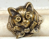 Items similar to cat jewelry steampunk pin steampunk hat for Cat in the hat jewelry