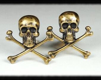 SKULL Steampunk Cufflinks Steampunk Cuff Links Skull Bones Cuff Links Antique Brass Airship Pirate Steampunk Jewelry by VictorianCuriosities