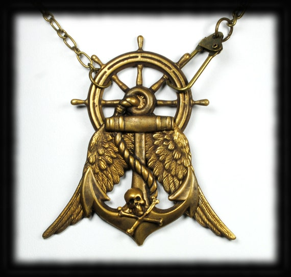 Steampunk Necklace Steam Punk Necklace Pirate Necklace Airship Pirate Jewelry Wings Skull Bones Steampunk Jewelry By Victorian Curiosities