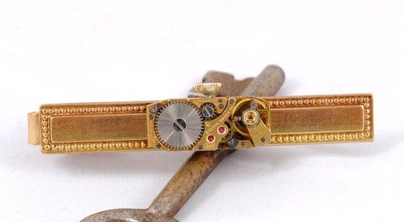 Steampunk Tie Bar Clip Tie Tack Vintage Watch Movement Gold Bulova Steam Punk Wedding Steam Punk Jewelry By Victorian Curiosities.